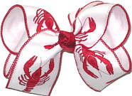 Large Red Crawfish on White over White Double Layer Overlay Bow