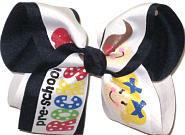 Large Preschool Rocks over Navy Double Layer Overlay Bow