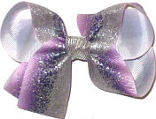 Medium Orchid with Silver Glitter with Silver Knot Double Layer Overlay Bow