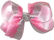Medium Hot Pink with Silver Glitter with Silver Knot Double Layer Overlay Bow