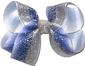 Medium Blue with Silver Glitter with Silver Knot Double Layer Overlay Bow