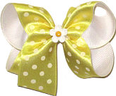 Medium Maize Satin with White Dots over White with Daisy Miniature Double Layer Overlay Bow