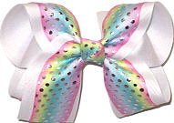 Large Pastel Stripes with Metallic Silver Dots over White Double Layer Overlay Bow