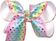 Medium Pastel Stripes with Metallic Silver Dots over White Double Layer Overlay Bow