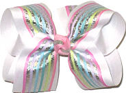 Large Pastel Stripes with Metallic Silver Stripes over White Double Layer Overlay Bow