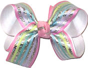 Medium Pastel Stripes with Metallic Silver Stripes over White Double Layer Overlay Bow