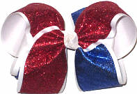 MEGA Red and Blue Glitter over White Double Layer Overlay Bow