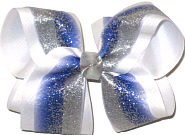 Large Blue with Silver Glitter with Silver Knot Double Layer Overlay Bow