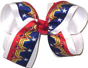 Large Wonder Woman Blue Red Yellow over White Double Layer Overlay Bow