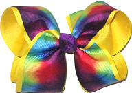 Large Multicolor Tie Dye Pattern over Maize Double Layer Overlay Bow