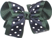 Navy with White Dots over Evergreen Large Double Layer Bow