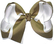 White and Khaki Large Double Layer Bow