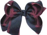 Burgundy and Navy Large Double Layer Bow