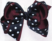Navy with White Dots over Burgundy Large Double Layer Bow