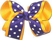 Large Purple with White Dots over Yellow Gold School Bow