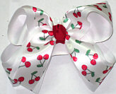 Satin Cherries on White over White Large Double Layer Bow