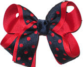 Red and Navy Medium Double Layer Bow