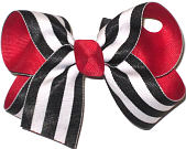Medium Red with White and Black Stripe School Bow