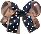 Navy with White Dots over Khaki Large Double Layer Bow