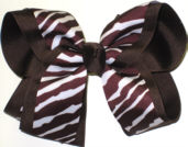 Brown and White Zebra over Brown Large Double Layer Bow