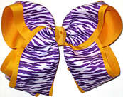 Purple and White Tiger Stripes over Yellow Gold Grosgrain MEGA Extra Large Double Layer Bow