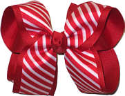 Large Red and White Satin Stripe over Red Grosgrain Large Double Layer Bow