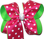 Shocking Pink with White Dots over Green Large Double Layer Bow