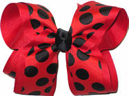 Red with Black Dots over Red Large Double Layer Bow
