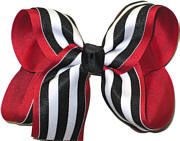 Large Red and Black with White Stripe School Bow