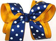 Large Century Blue with White Dots over Yellow Gold School Bow