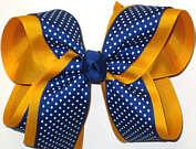 Century Blue with White Microdots over Yellow Gold Large Double Layer Bow