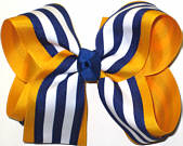 Yellow Gold and Royal Blue with White Stripe Large Double Layer Bow