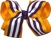 Yellow Gold and Regal Purple with White Stripe Large Double Layer Bow