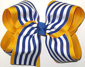 MEGA Century Blue and White Stripe Over Yellow Gold School Bow