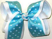White and Turquoise Large Double Layer Bow
