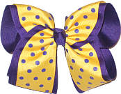 Maize with Purple Dots over Purple Grosgrain MEGA Extra Large Double Layer Bow