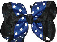 Century Blue with White Dots over Black Large Double Layer Bow