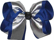 Silver/Century Blue with Black Knot Large Double Layer Bow