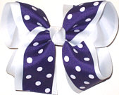 Purple with White Dots over White Large Double Layer Bow
