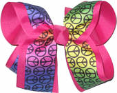 Rainbow Background Peace Sign over Shocking Pink Large Double Layer Bow