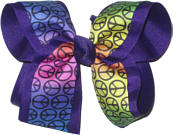 Rainbow Background Peace Sign over Purple Large Double Layer Bow