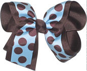 Blue with Brown Dots over Brown Large Double Layer Bow