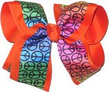Rainbow Background Peace Sign over Orange Large Double Layer Bow