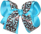 Brown and Blue over Blue Large Double Layer Bow