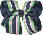 Navy and Navy Apple Pink and White Stripe Large Double Layer Bow
