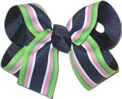 Navy and Apple Pink White and Navy Stripe Medium Double Layer Bow