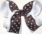 Brown and White Large Double Layer Bow