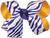 Purple and White Zebra Stripes over Yellow Gold Grosgrain Medium Double Layer Bow