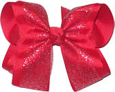 Chiffon Glitter over Red Large Double Layer Bow