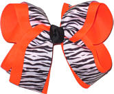 Black and White Tiger Stripe over Neon Orange Large Double Layer Bow